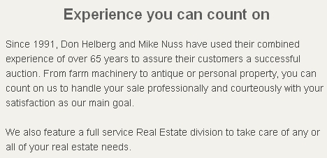 Helberg and Nuss Auctions and Realty - Experience you can count on!
